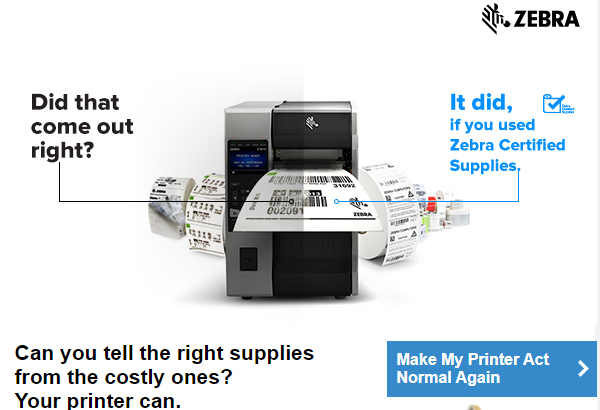 Are you using Zebra certified supplies?